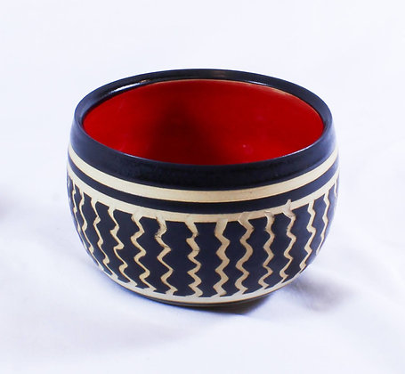 Small Black & White Bowl with Red Interior (AMC 003)