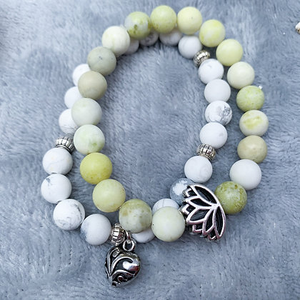 Lime Green Serpentine Beads with Howlites Bracelet Stack (ARK014)