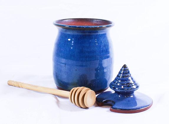 Honey Jar with Blue Glaze (AMC 012)