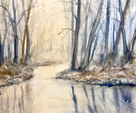 """Bare Trees by the Creek"""