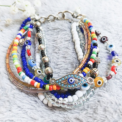 Blue Evil Eye SeedBead Bracelet (ARK018)