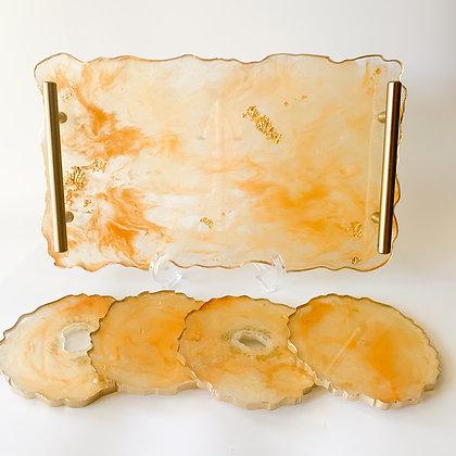 Gold Silk Tray and Coaster Set (ARK005)