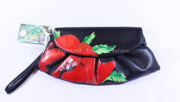 Red Poppy on Black Bag (NVB 015)