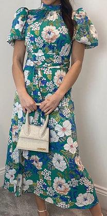 Puff Sleeve Midi Dress Green Floral