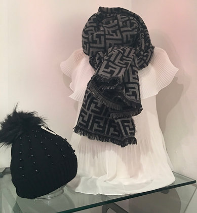 Designer inspired 2tone scarf(black/grey