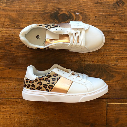 Animal Print/Rose Gold Trainers In White