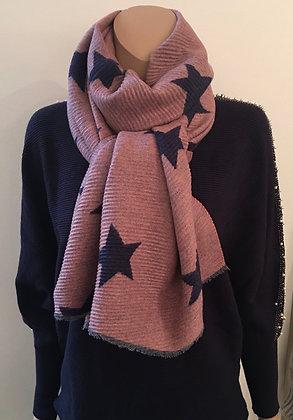 Pink/navy star scarf