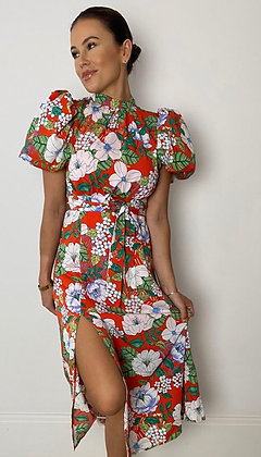 Puff Sleeve Orange Floral Midi  Dress