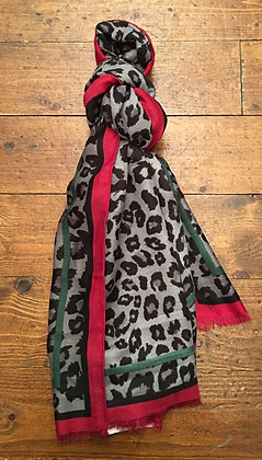 Grey animal print scarf
