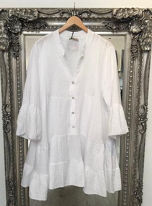 Button Dress White