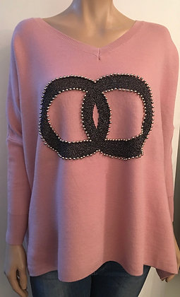 Loose fitting detail front sweat top