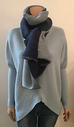 Reversible rib scarf in blue