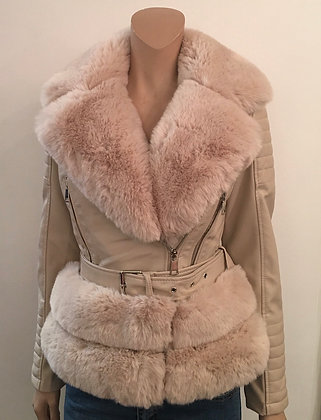Faux leather fur lined jacket