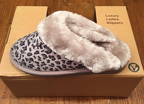 Grey Leopard slippers