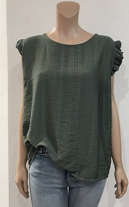 Button Back Frill Sleeve Top