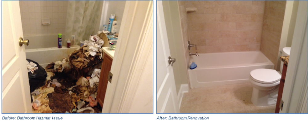 Before and After Picture of Condo Bathroom