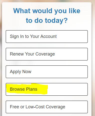 Browsing Health Plans WA Healthplanfinder
