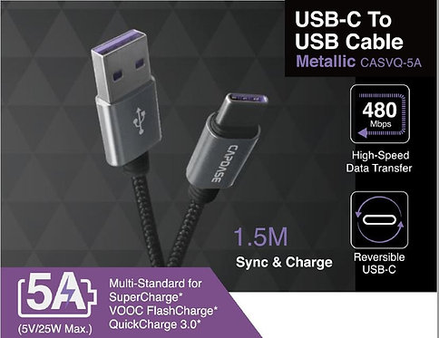 Capdase Metallic Sync & Charge USB-A to USB-C 5A Cable 1.5M