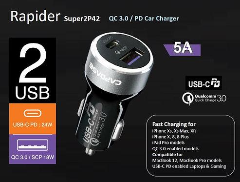 Capdase QC3.0 / PD Rapider Super 2P42 Car Charger