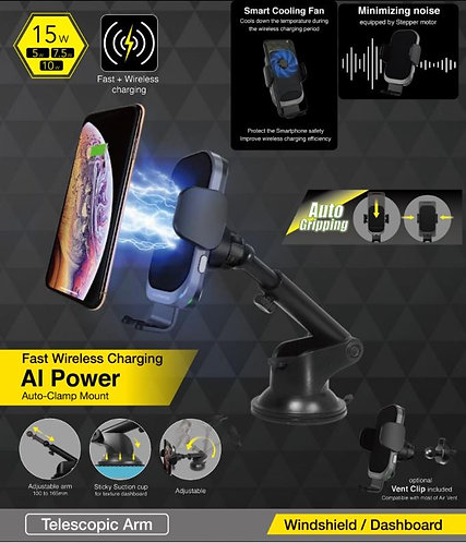 CAPDASE AI Power Mount Fast Wireless Charging Auto-Clamp Car Mount