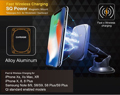 Capdase SQ Power Fast Wireless Charging Magnetic Mount Telescopic-Arm for Windsh