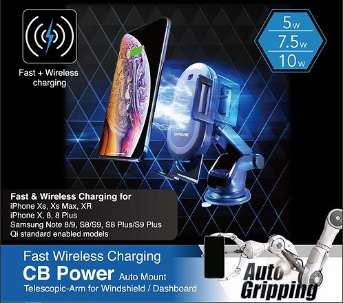 Capdase Fast Wireless Charging CB Power II Auto-Clamp Mount Telescopic-Arm for W