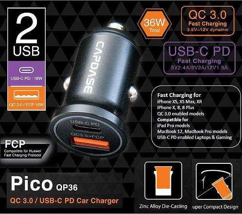 Capdase QC3.0 / USB-C PD Pico QP36 Car Charger