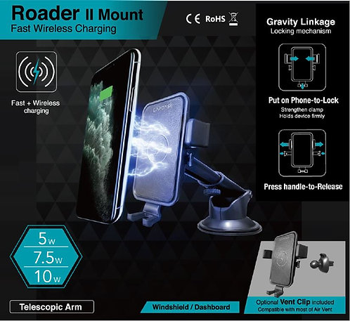 Capdase Roader II Fast Wireless Car Charging Mount Telescopic-Arm