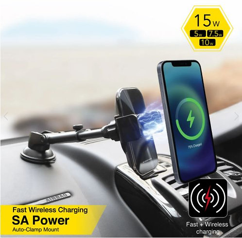 CAPDASE SA Power Mount - Fast Wireless Charging Auto-Clamp Car Mount
