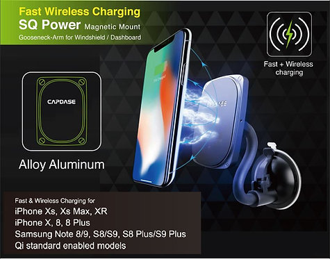Capdase SQ Power Fast Wireless Charging Magnetic Mount Gooseneck-Arm for Windshi