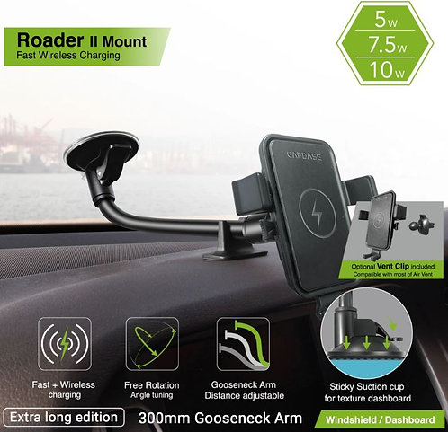 Capdase Roader II Fast Wireless Car Charging Mount Gooseneck-Arm 300mm