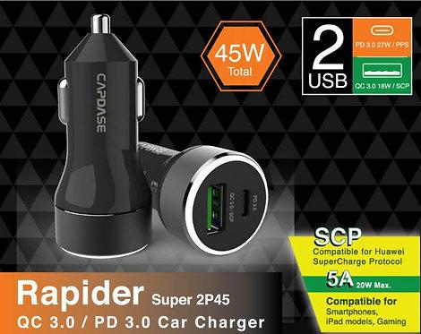 Capdase QC3.0/USB-C PD Rapider Super 2P45 Car Charger