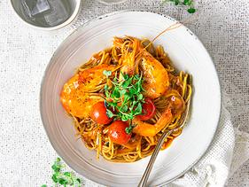 Spicy Tiger Prawn Spaghetti