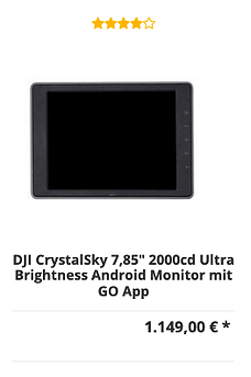 "DJI CrystalSky 7,85"" 2000cd Ultra Bright"
