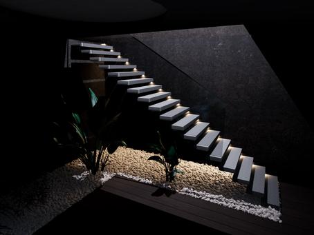 Conception d'un escalier à marches suspendues.