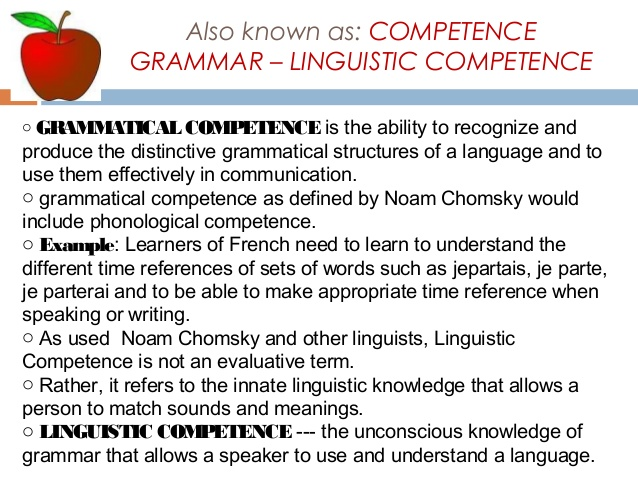 Grammatical Competence