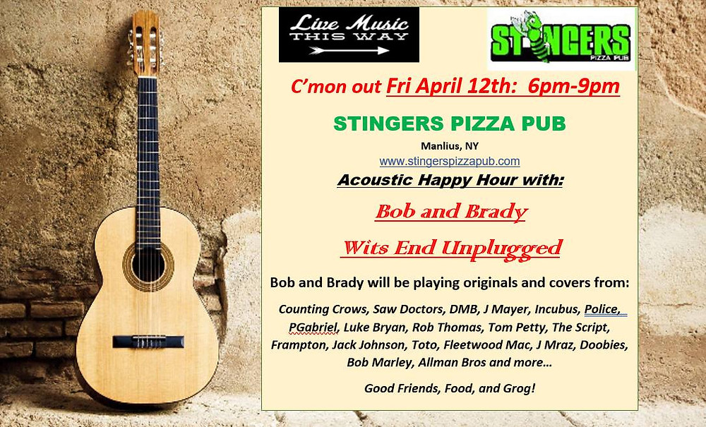 Live Music at Stingers Pizza Pub in Manlius, NY on April 12 from 6-8PM