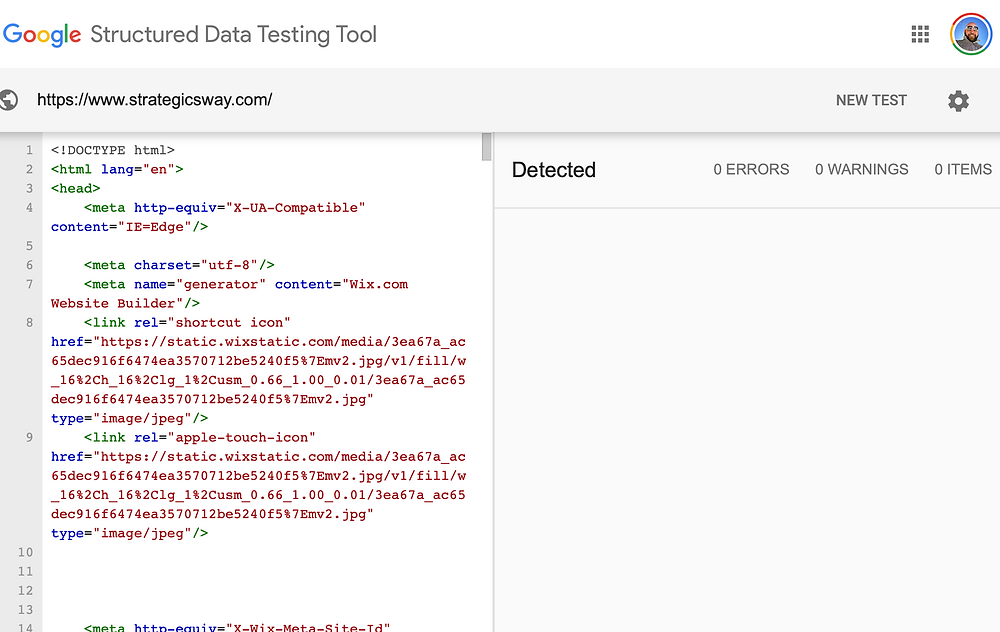 Strategic Sway, Google Structured Data Test