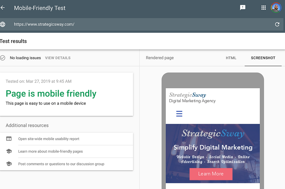 StrategicSway.com Mobile Friendly Test