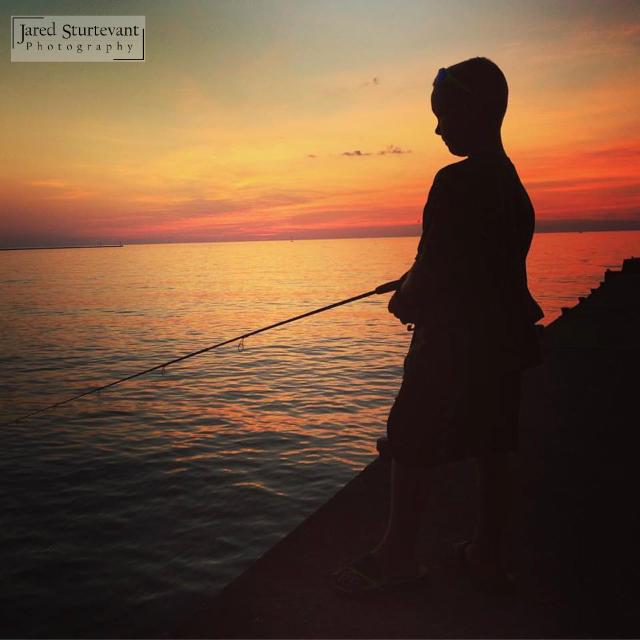 Pier Fishing Boy Silhouette