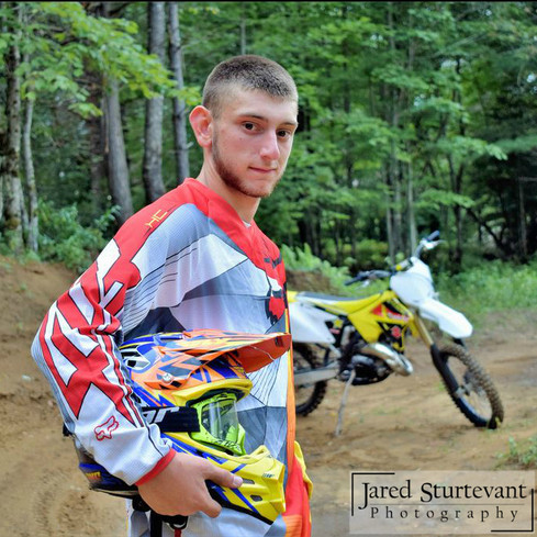 Photo of an Adirondack Senior with dirt bike, Jared Sturtevant Photography
