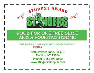 Stingers Pizza Pub Student Reward Vouher