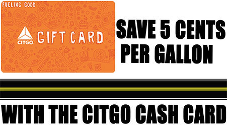 Citgo Gift Card Save 5¢ per gallon on Gas at Sliders Food Mart Citgo