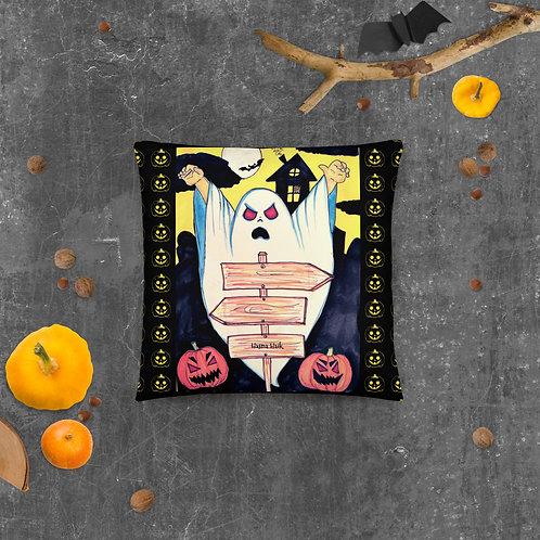 """Coussin noir"""" Boo """" Halloween ( Fantaisie )"""