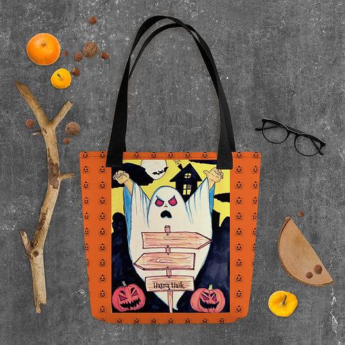 """Sac à main orange fantaisie """" Boo Halloween """""""