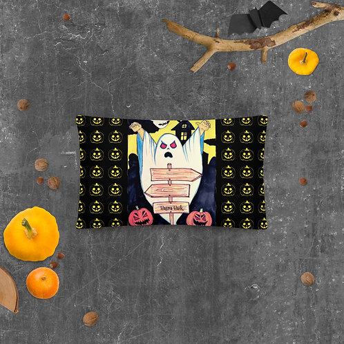 "Coussin 50 cm x 30 cm noir  "" Boo "" Halloween ( Fantaisie )"