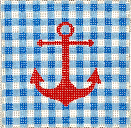 """Kate Dickerson INSSQ4-27 Anchor on Gingham 4x4"""" Square"""