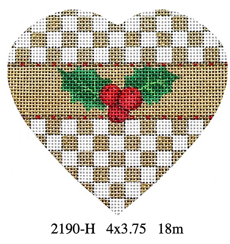 Melissa Shirley 2190 H Holly Heart -Checkered
