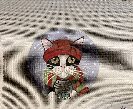 Purple Palm Designs Cat with Coffee 8520