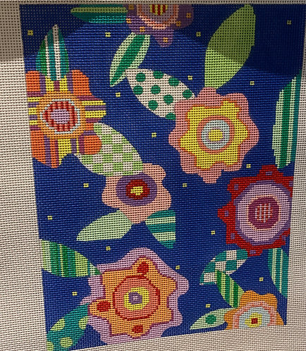 Penny Macleod Flowers on Blue Background 454